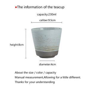 Tea Cup 230ml Japanese Cup Pottery Tea Bowl Ceramic Cups Vintage Teacup Kung Fu Teaware Drinkware Container Handmade Pu'er Bowls jllyJP