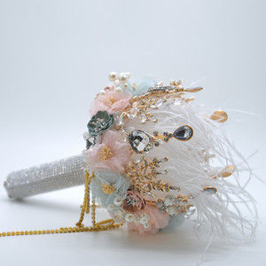 2021 Pink Feather Bouquet Ivory Gray Crystal Beading Bouquet Satin Wedding Flowers Bridal Bouquets Wedding Accessories