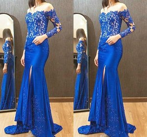 Long Sleeve Blue Evening Dresses Off Shoulder Bling Beads Appliques Lace Mermaid Side Slit Girls Pageant Dress Prom Gowns