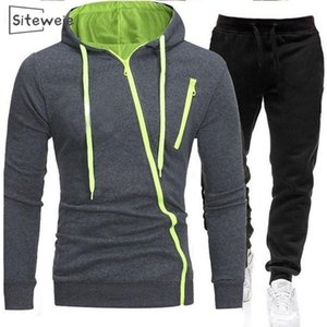 SitesiWeie 2 Parça Setleri Erkek Giyim Eşofman Moda Spor Rahat Takım Elbise Yeni Erkek Joggers Sweatpants + Fermuar Hoodies Setleri L609