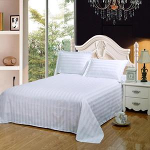 Home textile 100% cotton Bed sheet set 3pcs bed cover + pillowcase flat sheet Brief bedding set hotel flat stripe bedcloth