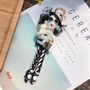 Popular the modern girl keychain Car Pendant Girls Handmade fashion Jewelry Bag key chains hot key ring