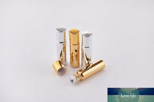 30pcs lot 5ml Glass Essential Oil Bottls Roll On Empty clear Perfume Roll-On gold Cap Bottle with Refillable Bottles