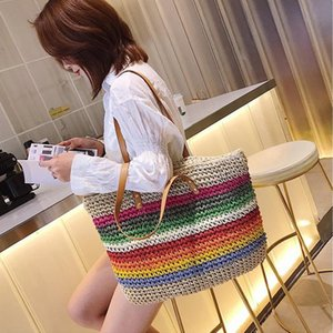 casual colorful striped rattan women shoulder bags wicker woven ladies handbags summer beach straw bag large capacity totes 2020