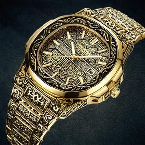Mode Quarzuhr Männer Marke ONOLA Luxus Retro Goldene Edelstahluhr Männer Gold Herrenuhr Reloj Hombre 201209