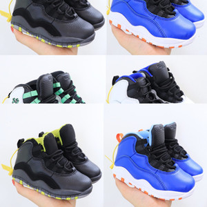 Top kids 10s 2020 OG Black Basketball Shoes For children Sports Training Sneakers High Quality Blackcat kids shoes 25-35
