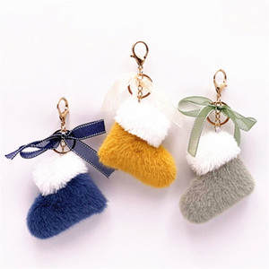 Christmas Boots Keychain Faux Fur Key Chain Cute Bow Bag Pendant Key Holder Cartoon Plush Car Key Ring Women Gift Accessories