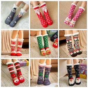 Knit Socks Cartoon Xmas Treehouse Womens Thick Sherpa Fleece Lined Thermal Sock Sleep Carpet Hosiery Christmas Decorations DHC2648