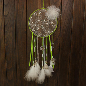 White Lace Flower Dreamcatcher Handmade Dream Catcher Net With Feathers Wall Hanging Decoration Ornament Party Gift