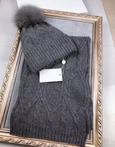 Unisex Adult Knit Hat and Scarf Kit Woolen Fur Pom poms Cap Thicken Winter Hat with Fox Fur Pompom Ball Cap Women Beanjes