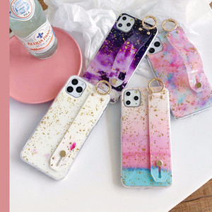 Bling Sequins Granite Marble Wristband Texture Phone Cases for iPhone 11 pro Max 7 8 Plus XS Max XR X hot Soft TPU Kickstand Cover