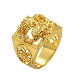 Wedding Rings for Men Real Yellow Gold Color Dragon Square Ring Anillo Birdal Jewelry Accessories Anel Bague Homme Bijoux Gifts