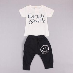 Clearance sale Boys Outfit Kids Set Summer Wear Short Sleeve Set Children Clothing Suit Smiling Face T shirt+Pants 2pcs set Z159