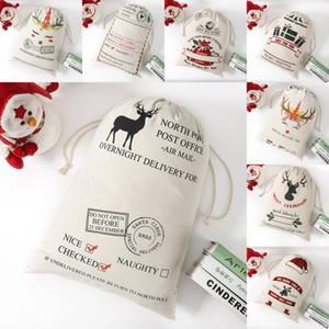 DHL Shipping Christmas Gift Bags Santa Claus Cotton Canvas Bag Santa Sacks Monogrammed Drawstring Bag Christmas Decorations Kimter-B278F