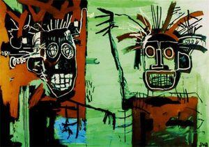 Jean Michel Basquiat Sanat Dekor İki Kafaları Altın Handpainted HD Baskı Yağlıboya Tuval Duvar Sanatı Tuval Resimleri, F201201