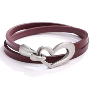Casual Fashion Charm Hollow Heart Leather Choker Bracelets for Women Winding Jewelry