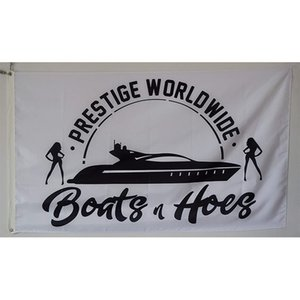 Custom Flag Printing, Annfly Prestige Worldwide Boats & Hoes Step Brothers Catalina flag on White Background,Free Shipping
