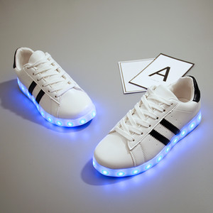 7ipupas led children shoes with usb Charge 11 colors Boy&Girl glowing Controllable Lamp Flashing Sport Casual Luminous sneakers 201203