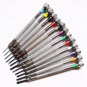 Herramientas de reparación Kits 0.6mm-2.0mm 13 unids relojeros Destornilladores Establecer gafas de reloj Blade plano Surt Ranoted Set, Jewelers WA1
