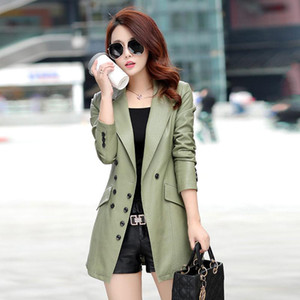 Long Section Large Size PU Leather Women's Jacket 2020 Autumn Winter New Korean Slim Faux Leather Blazer Femme Trench Coat f1885