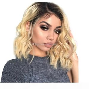 Short Wavy Brazilian remy Human Hair Lace Front Wig Ombre blond 1B #613 Bob Cut Lace Wig Pre Plucked Baby Hair