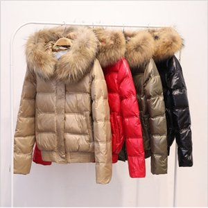 FTLZZ Real Raccoon Fur Winter Jacket Women Long Sleeve Slim White Duck Down Parkas Female Hooded Pockets Coat Outwear 201118