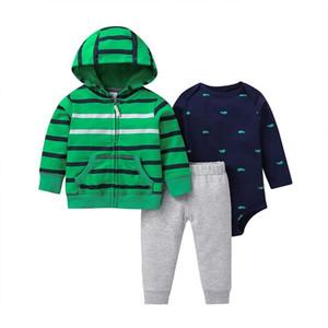 Baby Boy Clothing sets for Autumn Strip Hoodie Long sleeve Bodysuit soft cotton Pants 3 Pieces jacket set 6M-24M Size Y1113