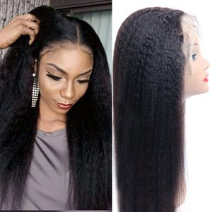 Kinky Straight Wig 13*4 Lace Front Human Hair Wigs PrePlucked Remy Yaki Lace Wig 4x4 Lace Closure Wig for Black Women U Part Wigs