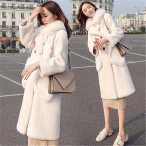 Женский меховой FUX 2021 зимние пальто пушистые пальто из пальто плюс размер дамы длинная верхняя одежда модный зерна флисовая женская одежда