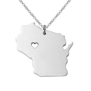 Accessoire de mode Wisconsin Carte Collier en acier inoxydable Etat USA 1J0TF