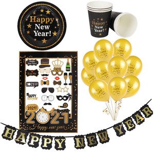 Happy New Year 2021 party decoration new year eve balloons black gold paper cup plate photo booth props banner Christmas navidad