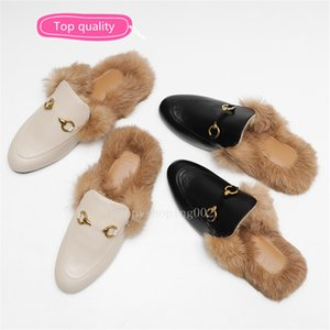 Top quality Princetown Fur Slippers Fur Mules Flat Chain loafers Fur Muller slipper Ladies Casual Shoes Women Loafers Muller Furry Slides