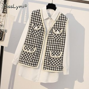 4XL Plus Size Women Sweet Two Piece Set Clothes Autumn 2020 Korean Fashion Long Sleeve White Shirts and V-neck Tweed Plaid Vest
