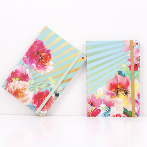 A5 Notebook Agenda Planner Organizer Journals Diaries Book Floral Printed Hardcover Notepad with Elastic Closure Banded IIF2872