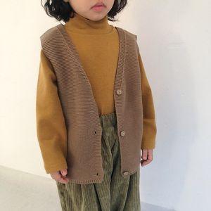 HX Korean New INS Kids Boys Girls Vest Tops Sleeveless Tshirts Blank Knitted Great Quality Children Unisex Winter Coat Autumn Child Clothes