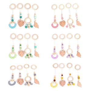 4Pcs Set Baby Nordic Gym Frame Hanging Pendants Wooden Ring Teether Molar Nursing Toys Infant Room Decoration Gifts B1203