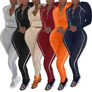 Women Tracksuit Two Pieces Set Slim Sexy Solid Color Line Stitching Zipper Top Long Pants Laides New Fashion Casual Outfits Sportwear 2020