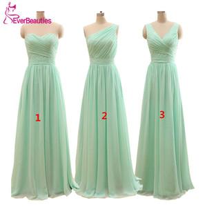 Long Cheap Mint Green Bridesmaid Dresses Under 50 Floor Length Chiffon a-Line Vestido De Madrinha De Casamento Longo 201119
