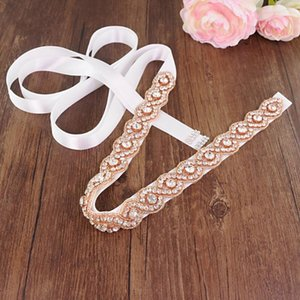 JLZXSY Rose gold Handmade Beautiful Crystal Wedding Belt Shine Crystal Bridal Belt Wedding Dress Rhinestone Decoration