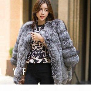 2017 Autumn Winter coat warm New Silver Fox Fur coat outerwear women's fashion imitation fur coat plus sizeS-4XL