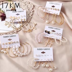 17KM Vintage Pearl For Women Big Gold Cross Set of Long Tassel Butterfly Dangle Drop Earrings 2021 Jewelry
