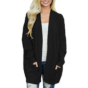 المرأة سترة طويلة مع جيوب كبيرة الحجم الحياكة البلوزات ملابس الشتاء ملابس معطف سحب فام manche longue 2019 سقوط الأزياء RZ * C1120