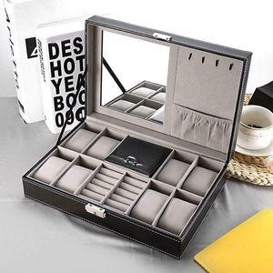 Practical 8 Slot Watch Box PU Leather Box Jewelry Ring Case Storage Organizer