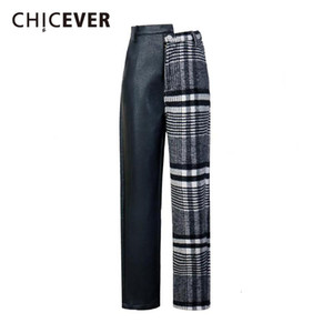 CHICEVER Patchwork PU Plaid Trousers For Women High Waist Hit Colors Asymmetrical Patchwork Autumn Winter Pants Female New Tide
