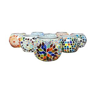 Creative Moroccan Turkey Mosaic Glass Votive Candle Holder Tea Light Candelabra Candlestick Home Decor Tabletop Centerpiece