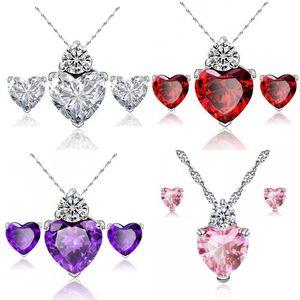 Red Heart Jewelry Sets Pendant Necklace Earrings Women Zircon Designs Cubic Zirconia Purple White Silver Chain Bridal Jewelery 622 K2