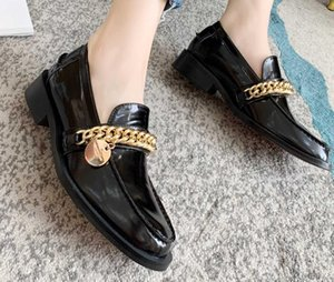 2020 2021 20fw womens black shiny real leather fashion FLAT platform heels gold chains mules slip on loafers
