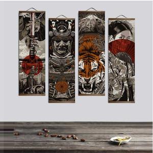 Оптовые японские укитие для HD холст плаката настенные картинки для гостиной украшения картины стены искусства с твердой древесиной висит свиток
