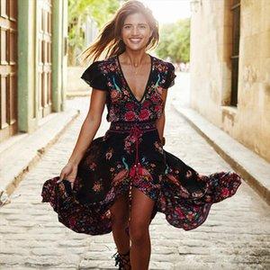 New Women Summer V Neck Vintage Boho Long Maxi Floral National Chiffon Dress Party Beach Dress Floral Sundress