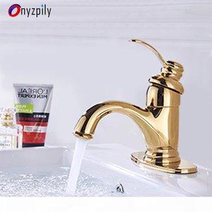 OnyZPily Golden Bathroom Cuenco Faucet Fregadero Grifo Cubierta montada Montado con agua caliente y frío Grifos Grifos Torneira Banheiro